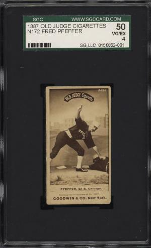 Image of: 1887 N172 Old Judge Fred Pfefferer TAGGING PLAYER SGC 4 VGEX (PWCC)
