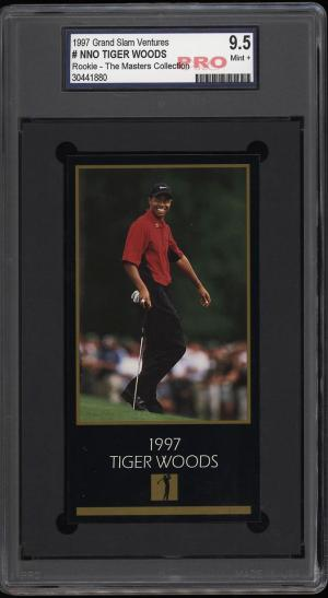 Image of: 1998 Champions Of Golf Masters Collection Tiger Woods ROOKIE RC PRO 9.5 (PWCC)