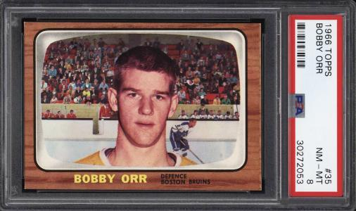 Image of: 1966 Topps Hockey Bobby Orr ROOKIE RC #35 PSA 8 NM-MT (PWCC)