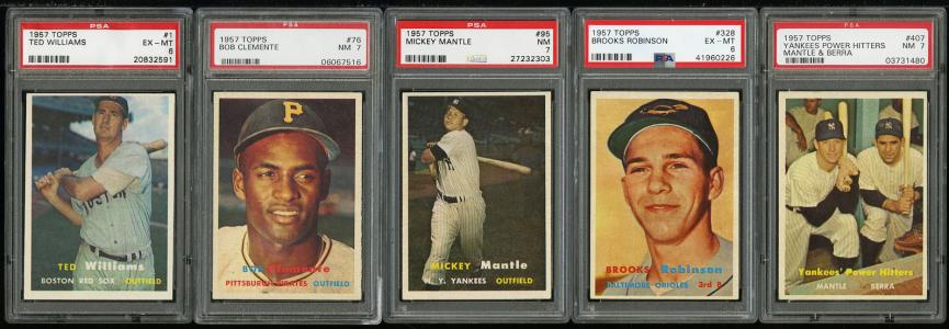 Image of: 1957 Topps Hi-Grd COMPLETE SET Clemente Mays Aaron Robinson Mantle PSA 7 (PWCC)