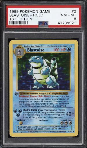 Image of: 1999 Pokemon Game 1st Edition Holo Blastoise #2 PSA 8 NM-MT (PWCC)