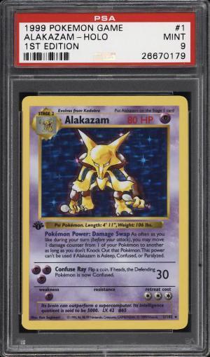 Image of: 1999 Pokemon Game 1st Edition Holo Alakazam #1 PSA 9 MINT (PWCC)