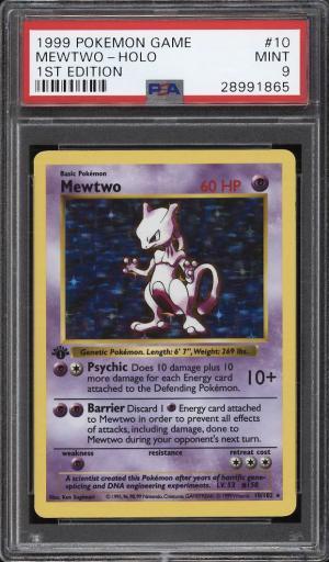 Image of: 1999 Pokemon Game 1st Edition Holo Mewtwo #10 PSA 9 MINT (PWCC)