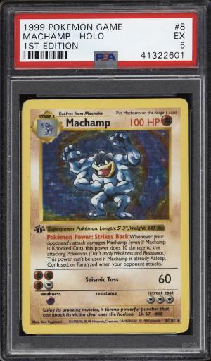 Image of: 1999 Pokemon Game 1st Edition Holo Machamp #8 PSA 5 EX (PWCC)