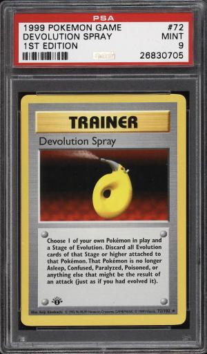 Image of: 1999 Pokemon Game 1st Edition Devolution Spray #72 PSA 9 MINT (PWCC)