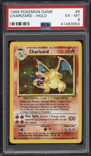 Image of: 1999 Pokemon Game Holo Charizard 4TH PRINT, UK VERSION #4 PSA 6 EXMT (PWCC)
