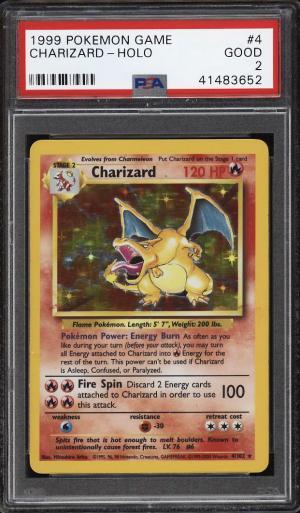Image of: 1999 Pokemon Game Holo Charizard 4TH PRINT, UK VERSION #4 PSA 2 GD (PWCC)