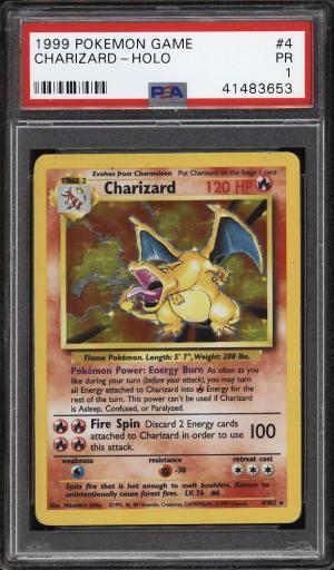 Image of: 1999 Pokemon Game Holo Charizard #4 PSA 1 PR (PWCC)