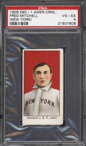 Image of: 1909 E90-1 American Caramel Fred Mitchell NEW YORK PSA 4 VGEX (PWCC)