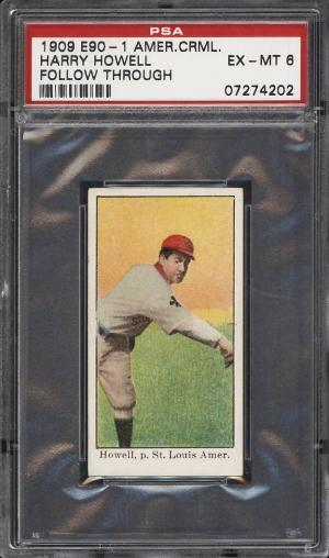 Image of: 1909 E90-1 American Caramel Harry Howell FOLLOW THROUGH PSA 6 EXMT (PWCC)