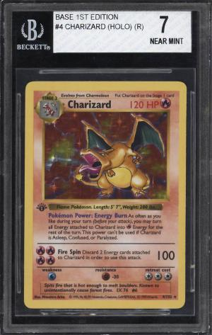 Image of: 1999 Pokemon Game 1st Edition Holo Charizard #4 BGS 7 NRMT (PWCC)