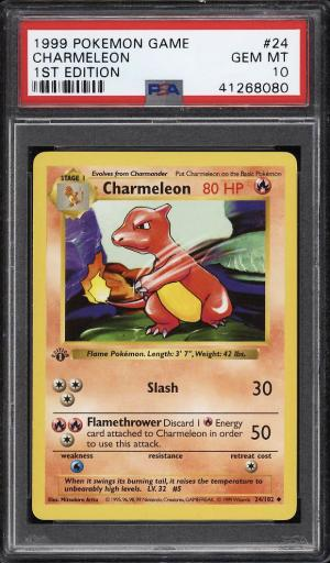 Image of: 1999 Pokemon Game 1st Edition Charmeleon #24 PSA 10 GEM MINT (PWCC)