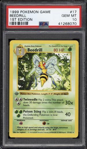 Image of: 1999 Pokemon Game 1st Edition Beedrill #17 PSA 10 GEM MINT (PWCC)