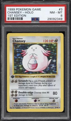 Image of: 1999 Pokemon Game 1st Edition Holo Chansey #3 PSA 8 NM-MT (PWCC)