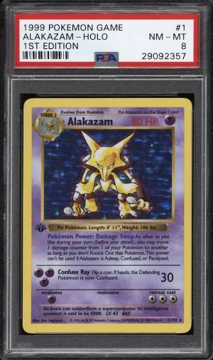 Image of: 1999 Pokemon Game 1st Edition Holo Alakazam #1 PSA 8 NM-MT (PWCC)