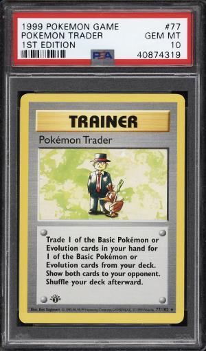 Image of: 1999 Pokemon Game 1st Edition Pokemon Trader #77 PSA 10 GEM MINT (PWCC)