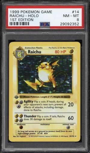 Image of: 1999 Pokemon Game 1st Edition Holo Raichu #14 PSA 8 NM-MT (PWCC)