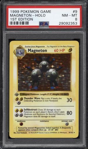 Image of: 1999 Pokemon Game 1st Edition Holo Magneton #9 PSA 8 NM-MT (PWCC)