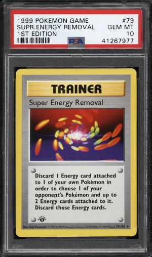 Image of: 1999 Pokemon Game 1st Edition Super Energy Removal #79 PSA 10 GEM MINT (PWCC)