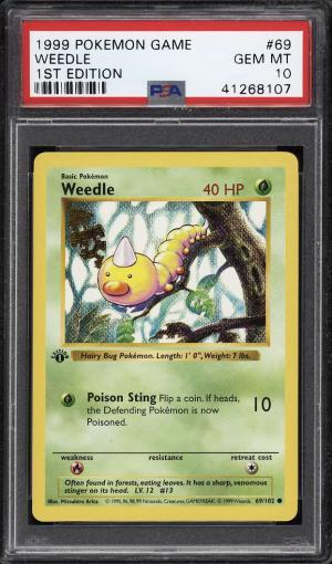 Image of: 1999 Pokemon Game 1st Edition Weedle #69 PSA 10 GEM MINT (PWCC)