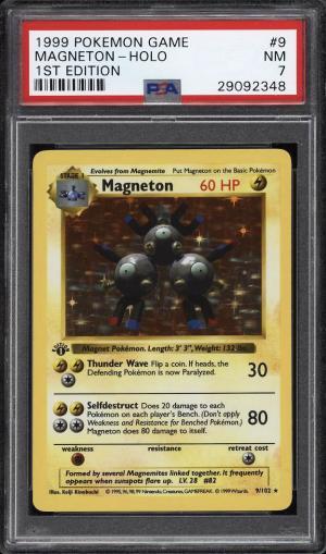 Image of: 1999 Pokemon Game 1st Edition Holo Magneton #9 PSA 7 NRMT (PWCC)