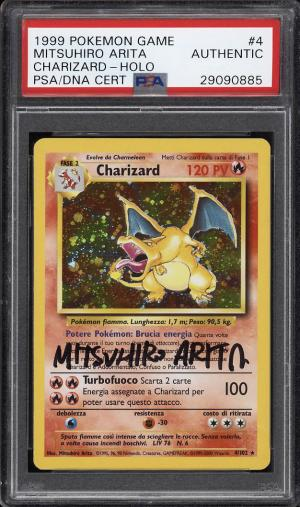 Image of: 1999 Pokemon Game Holo Charizard, Mitsuhiro Arita AUTO #4 PSA Auth (PWCC)