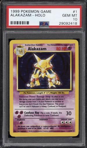Image of: 1999 Pokemon Game Holo Alakazam #1 PSA 10 GEM MINT (PWCC)