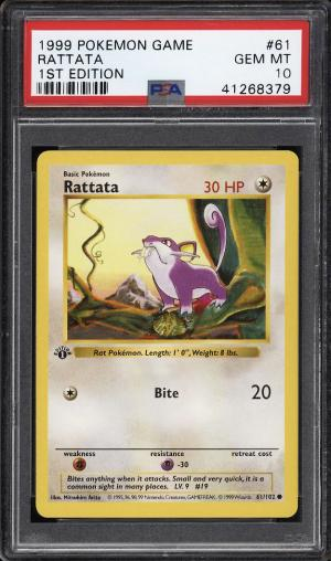 Image of: 1999 Pokemon Game 1st Edition Rattata #61 PSA 10 GEM MINT (PWCC)