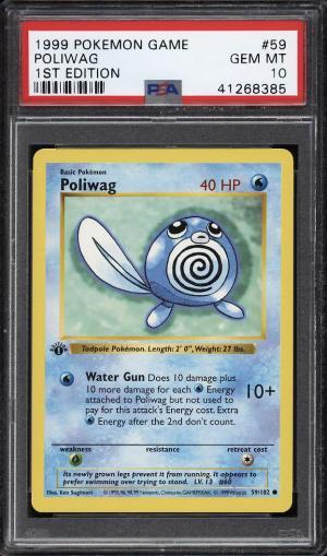 Image of: 1999 Pokemon Game 1st Edition Poliwag #59 PSA 10 GEM MINT (PWCC)