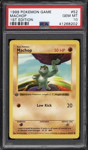 Image of: 1999 Pokemon Game 1st Edition Machop #52 PSA 10 GEM MINT (PWCC)