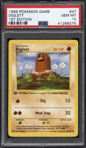Image of: 1999 Pokemon Game 1st Edition Diglett #47 PSA 10 GEM MINT (PWCC)