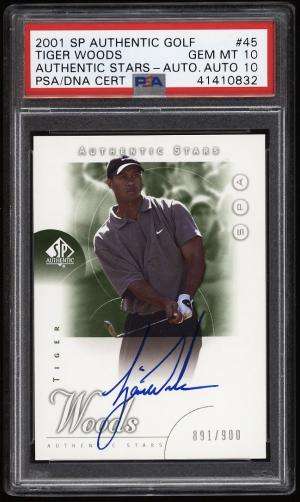 Image of: 2001 SP Authentic Golf Tiger Woods ROOKIE PSA/DNA 10 AUTO /900 #45 PSA 10 (PWCC)