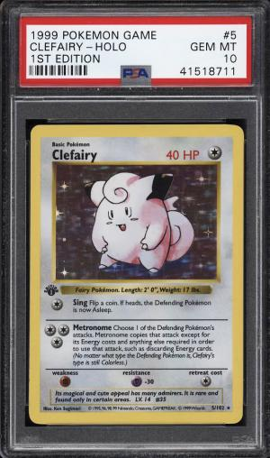 Image of: 1999 Pokemon Game 1st Edition Holo Clefairy #5 PSA 10 GEM MINT (PWCC)