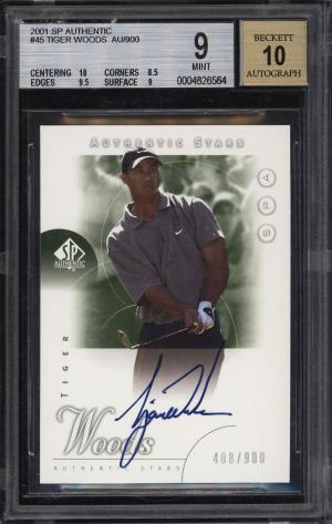 Image of: 2001 SP Authentic Golf Tiger Woods ROOKIE RC AUTO /900 #45 BGS 9 MINT (PWCC)