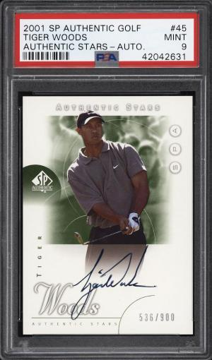 Image of: 2001 SP Authentic Golf Tiger Woods ROOKIE RC AUTO /900 #45 PSA 9 MINT (PWCC)