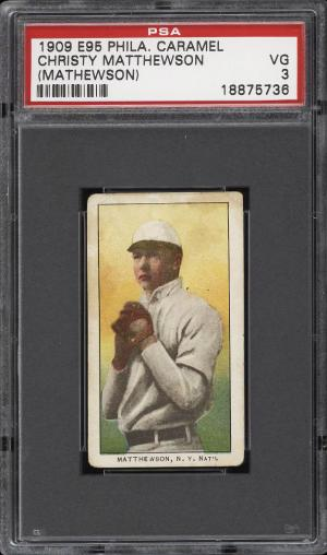 Image of: 1909 E95 Philadelphia Caramel Christy Mathewson PSA 3 VG (PWCC)