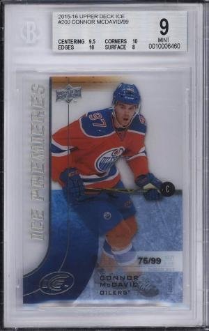 Image of: 2015 Upper Deck Ice Premiers Connor McDavid ROOKIE RC /99 #200 BGS 9 MINT (PWCC)