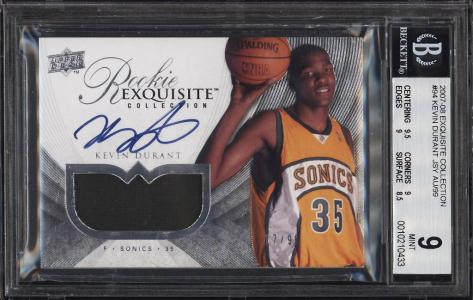 Image of: 2007 Exquisite Collection Kevin Durant ROOKIE RC AUTO PATCH /99 #94 BGS 9 (PWCC)