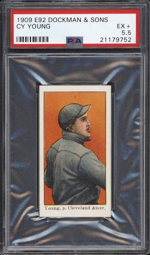Image of: 1909 E92 Dockman & Sons Cy Young PSA 5.5 EX+ (PWCC-PQ)