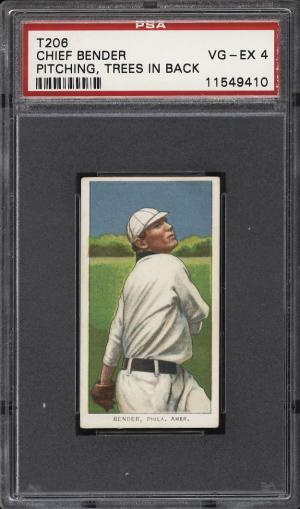 Image of: 1909-11 T206 Chief Bender PITCHING, TREES IN BACK PSA 4 VGEX (PWCC)