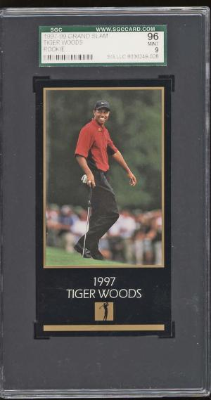 Image of: 1998 Champions Of Golf Masters Collection Tiger Woods ROOKIE RC SGC 9 MT (PWCC)