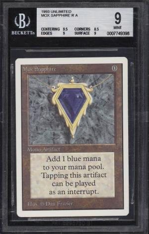 Image of: 1993 Magic The Gathering MTG Unlimited Mox Sapphire R A BGS 9 MINT (PWCC)