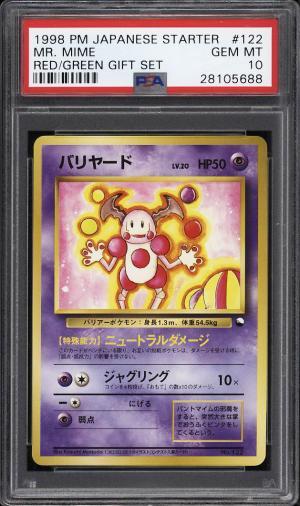 Image of: 1998 Pokemon Japanese Starter Red Green Gift Mr. Mime #122 PSA 10 GEM MT (PWCC)