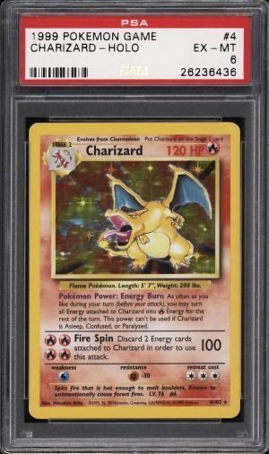 Image of: 1999 Pokemon Game Holo Charizard #4 PSA 6 EXMT (PWCC)