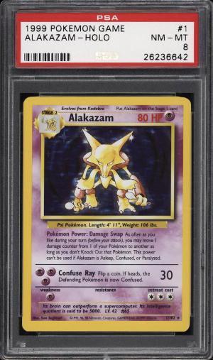 Image of: 1999 Pokemon Game Holo Alakazam #1 PSA 8 NM-MT (PWCC)