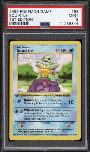 Image of: 1999 Pokemon Game 1st Edition Squirtle #63 PSA 9 MINT (PWCC)