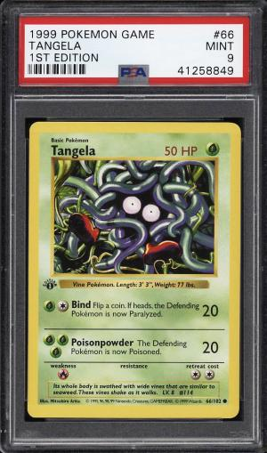 Image of: 1999 Pokemon Game 1st Edition Tangela #66 PSA 9 MINT (PWCC)