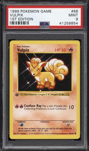 Image of: 1999 Pokemon Game 1st Edition Vulpix #68 PSA 9 MINT (PWCC)