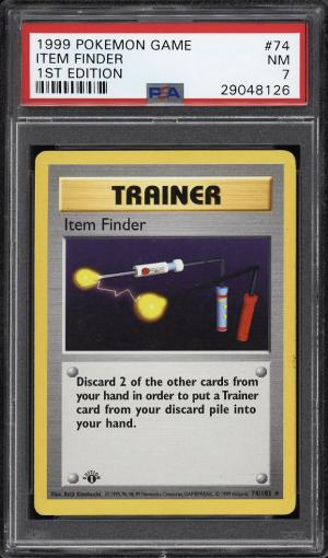 Image of: 1999 Pokemon Game 1st Edition Item Finder #74 PSA 7 NRMT (PWCC)