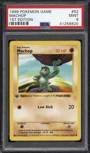 Image of: 1999 Pokemon Game 1st Edition Machop #52 PSA 9 MINT (PWCC)